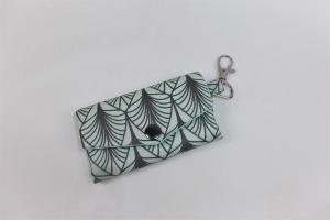 schickes Schlüsselmäppchen mit Reißverschlussfach, Schlüsseletui, beschichtete Baumwolle, mint, Portkey, Wittsich, Dieda - Handarbeit kaufen