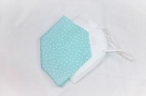 FFP2 Masken-Cover, Überzug für FFP2 Masken, Baumwollüberzug, mint, Dreiecke, handgemacht von Dieda - Handarbeit kaufen