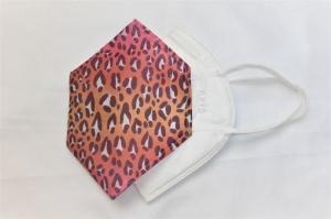Cover, Überzug für FFP2 Masken, aus HeiQ Viroblock Filtervlies, Leopard, pink