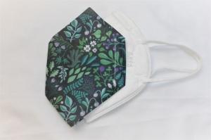 Cover, Überzug für FFP2 Masken, aus HeiQ Viroblock Filtervlies, Blätter, grün