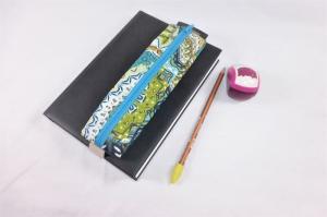 Mäppchen, Stifthalterung, Lesezeichen mit Brillenetui, beschichtete Baumwolle, Mandala, petrol, mit Gummiband zur Befestigung an Notizbuch, Kalender, Organizer, Tagebuch, Stiftetui - Handarbeit kaufen