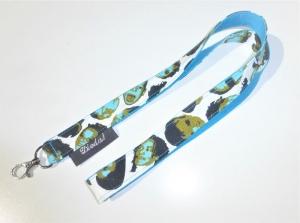 Schlüsselband mit Köpfen zum Umhängen mit Karabiner, Baumwollstoff türkis, Länge 50cm, handgemacht von Dieda - Handarbeit kaufen