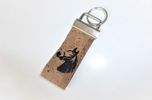 1 Schlüsselband aus Korkstoff, bestickt mit Pferdekopf für Pferdeliebhaber, 3 cm breit, Klemmschließe mit Schlüsselring - Handarbeit kaufen