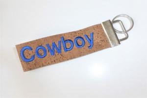 1 Schlüsselband aus Korkstoff, bestickt mit Cowboy, für Pferdeliebhaber, Reiter, Westernreiter, 3 cm breit, handgemacht von Dieda - Handarbeit kaufen