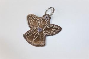 1 Schlüsseanhänger aus goldenem Kunstleder, Engel, ein kleines Geschenk zur Kommunion oder Konfirmation - Handarbeit kaufen