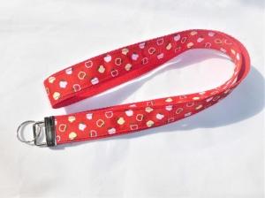 Schlüsselband lang in rot mit Ripsband Apfel, zum Umhängen 50cm lang, Gurtband - Handarbeit kaufen