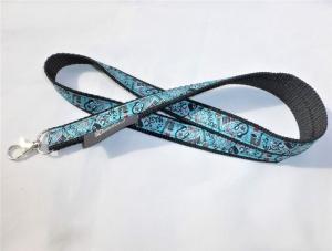 Schlüsselband lang schwarz mit Webband Musik, zum Umhängen 50cm lang, Gurtband, Karabiner - Handarbeit kaufen