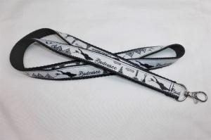 Schlüsselband lang schwarz mit Webband Skyline Bodensee, zum Umhängen 50cm lang, Gurtband, Karabiner - Handarbeit kaufen