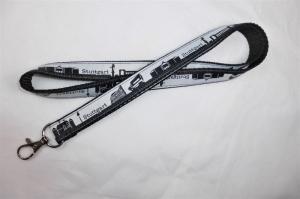 Schlüsselband lang schwarz mit Skyline-Webband Stuttgart, zum Umhängen 50cm lang, Gurtband, Karabiner - Handarbeit kaufen