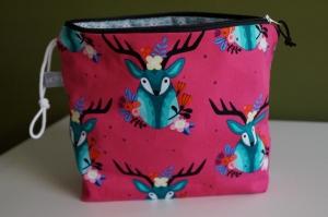 Kosmetik Tasche farbenfroher Hirsch   - Handarbeit kaufen