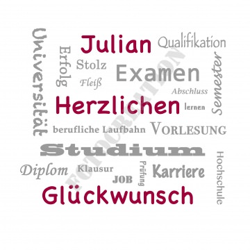 Glückwunschkarte zum Studienabschluss,personalisiert mit dem Namen des Absolventen
