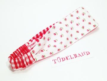 Haarband ...Blümchenduft...rot...weiß...geblümt