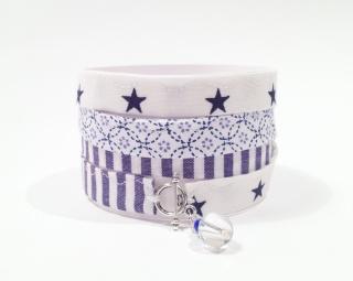 Wickelarmband  ...Tüdelüt...Stern...★...weiß...dunkelblau - Handarbeit kaufen