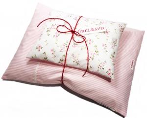 Puppenbettwäsche ...Blümchen... rosa Streifen/rosagelb Geblümt ♡