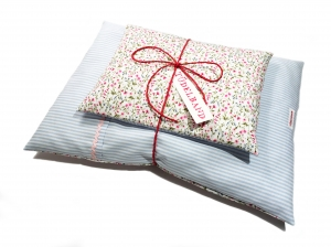 Puppenbettwäsche ...Blümchen... hellblau Streifen/rosapink Geblümt ♡  - Handarbeit kaufen