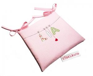 Stuhlkissen Kinderstuhlkissen ...Herzchen an der Leine...♡...rosa...geblümt - Handarbeit kaufen