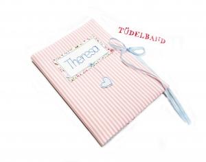 U-Hefthülle Mutterpasshülle Hefthülle...Herzchen an der Leine...♡... rosa...geblümt - Handarbeit kaufen
