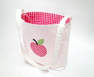 Kindertasche ...die Apfeltasche...ecru...rot...grün