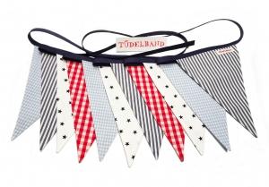 Wimpelkette Girlande mit 11 Wimpeln...dunkelblaue Sterne ★...hellblau...rot...maritim  - Handarbeit kaufen