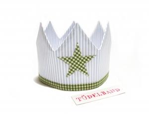 Krone Geburtstagskrone Geschwisterkrone Mädchen/Junge Wendekrone ...hellblau...geblümt...grün - Handarbeit kaufen