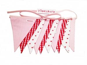 Wimpelkette Girlande mit 10 Wimpeln...rote Sterne ★...rosa...rot... - Handarbeit kaufen