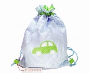 Turnbeutel ...Auto...hellblau kariert...grün...★ - Handarbeit kaufen