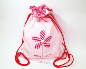 Turnbeutel ...Blümchen...♡...rosa Streifen...rot kariert...