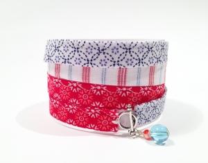 Wickelarmband...Tüdelüt...rot...dunkelblau...hellblau - Handarbeit kaufen