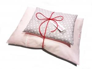 Puppenbettwäsche ...Sternchen...★... rosa...grau... - Handarbeit kaufen