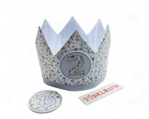 Krone...Wendekrone... Geburtstagskrone...geblümt/hellblau   - Handarbeit kaufen