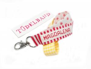 Schlüsselband...kleines Tüdelband... rot...weiß...gelb...  - Handarbeit kaufen