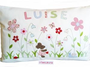 Kissen Namenskissen...Sommerwiese...♡... Maus...cremeweiß...geblümt...  - Handarbeit kaufen