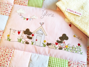 Babydecke Krabbeldecke ...Gartenglück...♡... rosa...geblümt... - Handarbeit kaufen
