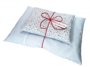 Puppenbettwäsche ...Blümchen... hellblau Streifen/zarthellblaugrün Geblümt ♡   - Handarbeit kaufen