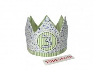 Krone Geburtstagskrone...Die Geschwisterkrone... Mädchen/Junge...geblümt...grün...hellblau - Handarbeit kaufen