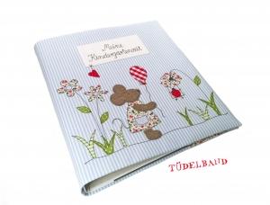 Kindergartenordnerhülle Portfolio ...kleine Blumenwiese... hellblau...geblümt...
