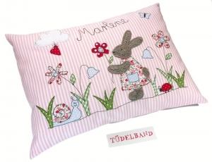Kissen ...kleine Blumenwiese...Häschen... rosa...geblümt...von Tüdelband...  - Handarbeit kaufen