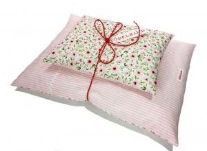 Puppenbettwäsche ...Blümchenduft... rosa Streifen/zartrosa Geblümt ♡    - Handarbeit kaufen