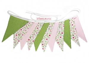 Wimpelkette Girlande mit 11 Wimpeln...rosa...geblümt...grün...  - Handarbeit kaufen