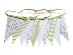 Wimpelkette Girlande mit 10 Wimpeln  ...grün...hellblau...geblümt... - Handarbeit kaufen