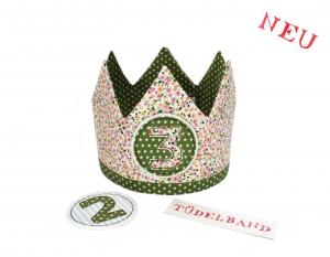 Krone Geburtstagskrone...Die Geschwisterkrone... Mädchen/Junge ...grün...geblümt...hellblau  - Handarbeit kaufen