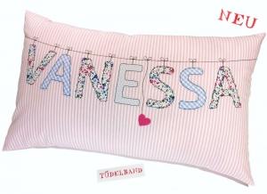 Namenskissen Kissen...Herzchen an der Leine...♡...  rosa...geblümt...  - Handarbeit kaufen