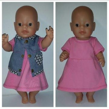 Puppenkleid mit Weste für Gr. 40 -43cm Puppen Unikat
