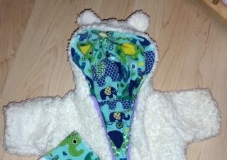 Schneeanzug Fellanzug 2 tlg. ♥ für 40-46 cm Puppe ♥Kuschelanzug Puppenkleidung