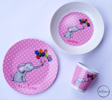 Babygeschirr Kindergeschirr mit Namen  personalisiert Elefant