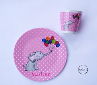 Kindergeschirr personalisiert Elefant, bestehend aus Becher und Teller