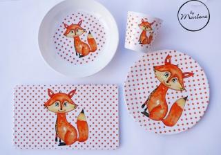 Kindergeschirr personalisiert, Kindergeschirr Fuchs, bestehend aus Becher, Teller, Schale und Brettchen