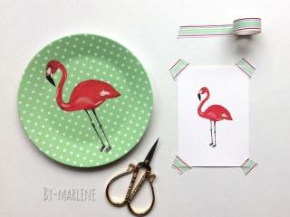 Kinderteller Flamingo mit Namen