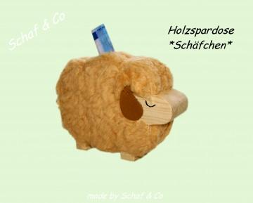 Spardose * Schäfchen*, lustige Holzspardose mit Plüschfell ♥