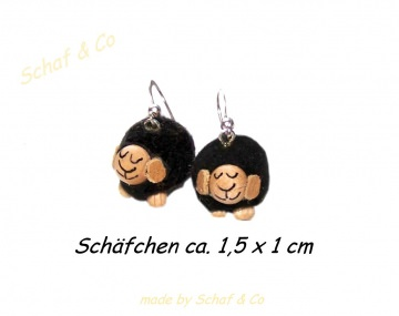 Ohrhänger * Schäfchen * Stoffschmuck ,schwarz-silber ♥♥♥♥